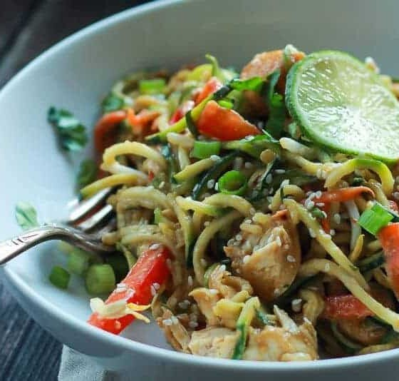 Thai Chicken Courgetti with Spicy Peanut Sauce Recipes | Gem Lowes - Lifestyle Blogger